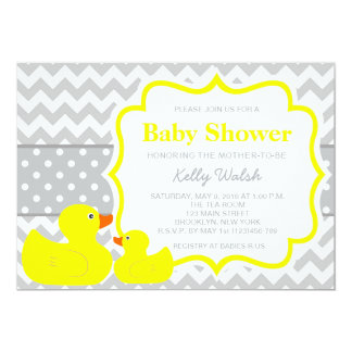 Rubber Ducky Baby Shower Invitations Chevron