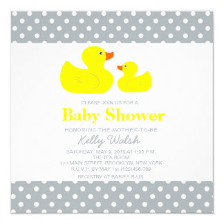 Rubber Ducky Baby Shower Invitations Polka Dot