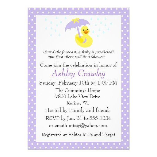 Rubber Ducky Baby Shower invite purple - customize