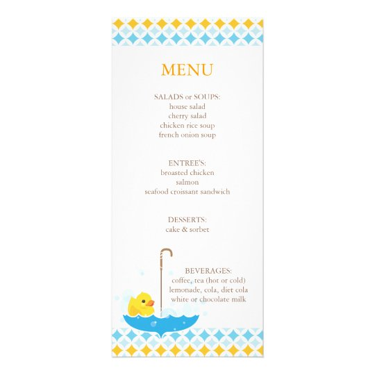 rubber ducky baby shower menu zazzle