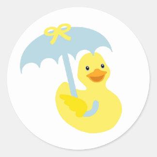 Rubber Ducky baby shower sticker & blue umbrella