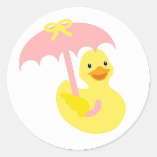 Rubber Ducky baby shower sticker & pink umbrella
