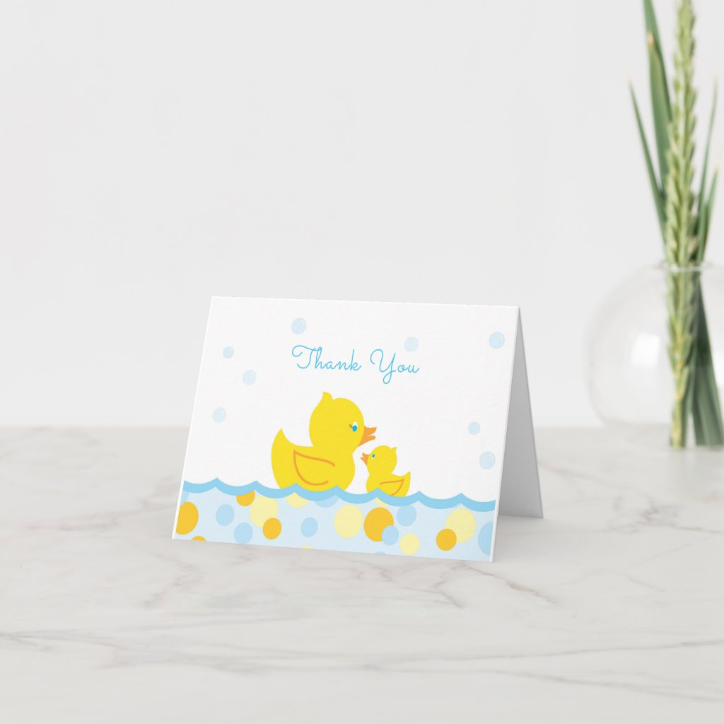 Rubber Ducky Baby Shower Thank You blue and yellow