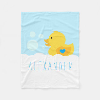 Rubber Ducky Bath Bubbles Fleece Blanket