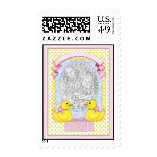 Rubber Ducky Bath - Pink Template Postage
