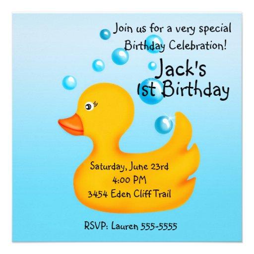 Rubber Ducky  Birthday Invitations