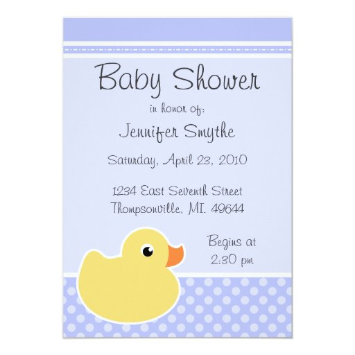 Rubber Ducky Blue Baby Shower Invitations