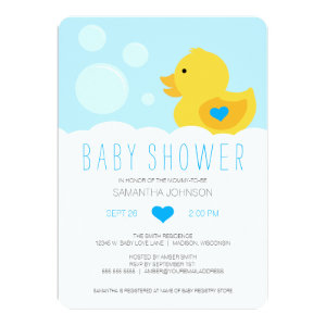 Rubber ducky baby shower invitations cute baby shower invitations rubber ducky boy baby shower 5x7 paper invitation card filmwisefo