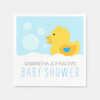 Rubber Ducky Boy Baby Shower Disposable Napkins