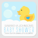 Rubber Ducky Boy Baby Shower Square Stickers