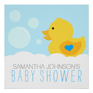 Rubber Ducky Bubble Bath Boy Baby Shower Poster