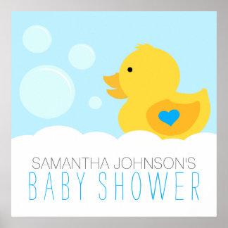 Rubber Ducky Bubble Bath Boy Baby Shower Poster