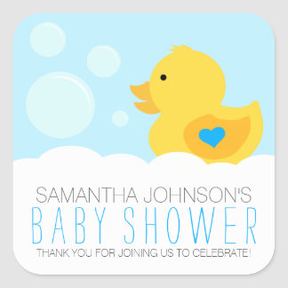 Rubber Ducky Bubble Bath Boy Baby Shower Square Sticker