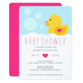 Rubber Ducky Bubble Bath Girl Baby Shower Card