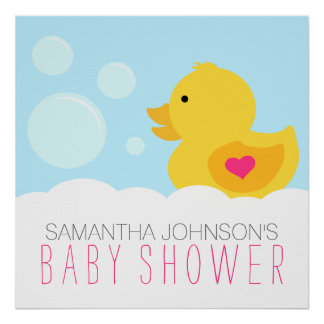 Rubber Ducky Bubble Bath Girl Baby Shower Poster