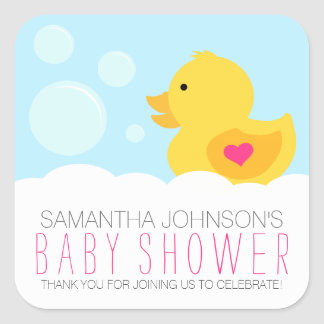Rubber Ducky Bubble Bath Girl Baby Shower Square Sticker