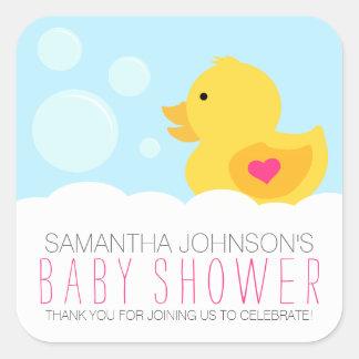 Rubber Ducky Bubble Bath Girl Baby Shower Square Sticker