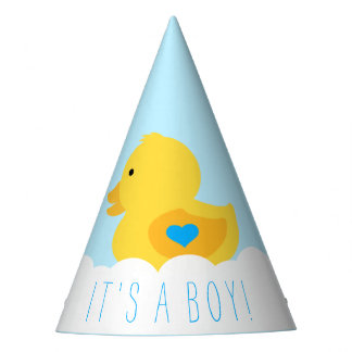 Rubber Ducky Bubble Bath It's A Boy Baby Shower Party Hat