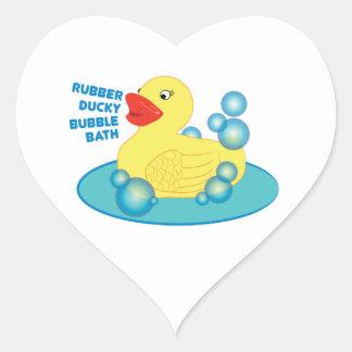 Rubber Ducky Bubble Bath Heart Sticker