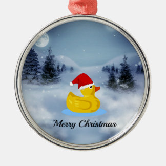 Rubber Ducky Christmas Greetings Metal Ornament