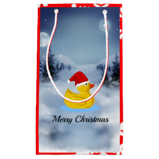 Rubber Ducky Christmas Greetings Small Gift Bag