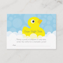 Rubber Ducky Diaper Raffle Ticket - Blue Enclosure Card