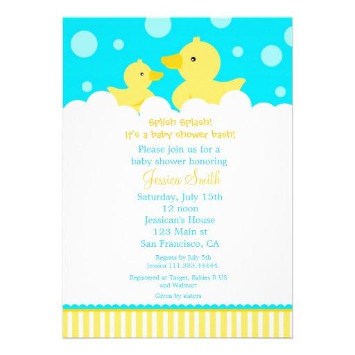 rubber ducky duck baby shower invitation 5 x 7 invitation card