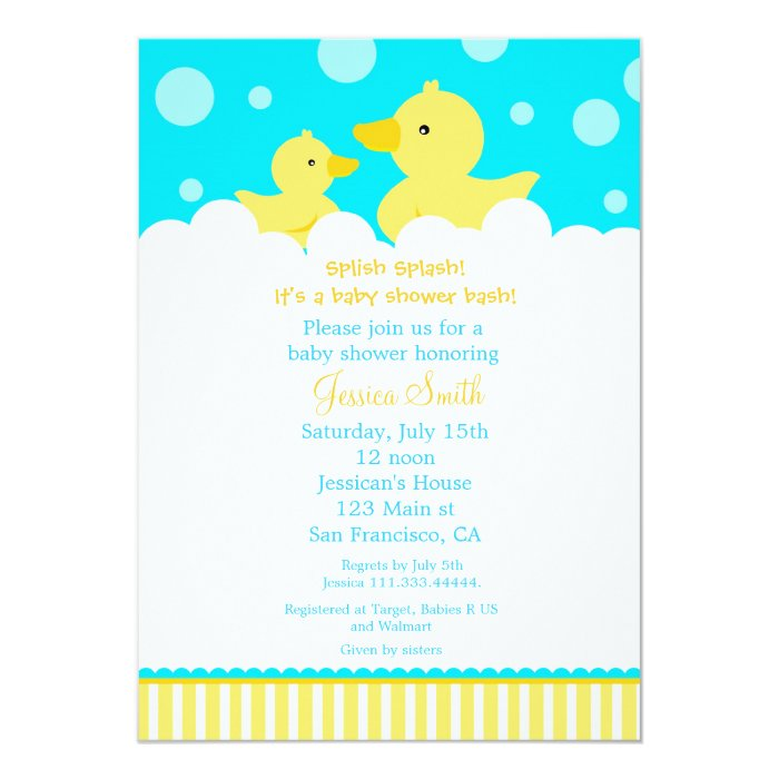 rubber ducky duck baby shower invitation zazzle