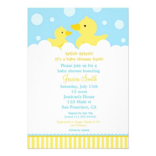 Rubber Ducky Duck Baby Shower Invitation for girl
