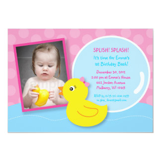 Rubber Ducky Duck Girl Photo Birthday Invitations