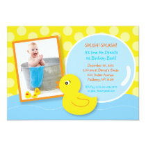 Rubber Ducky Duck Photo Birthday Invitations