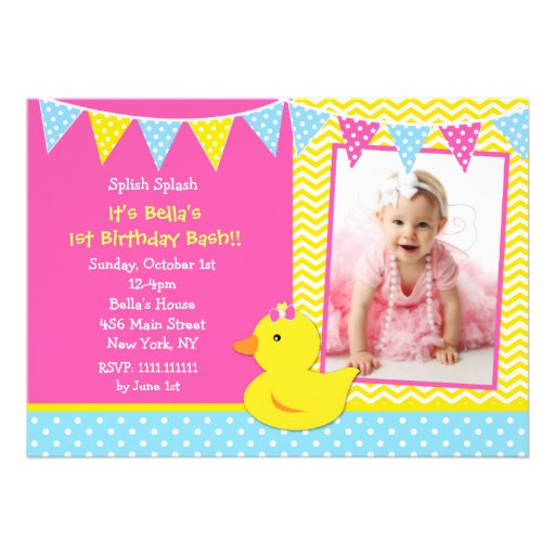 Rubber Ducky Duck Photo Birthday Party Invitations (front side)