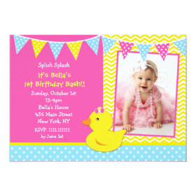 Rubber Ducky Duck Photo Birthday Party Invitations 5