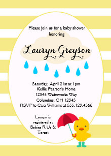 Rubber ducky baby shower invitations announcements zazzle rubber ducky duck yellow baby shower invitation filmwisefo