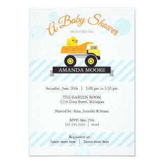 Rubber Ducky Dump Truck Baby Shower Invitation
