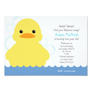Rubber ducky birthday invitations announcements zazzle rubber ducky first birthday party invitation filmwisefo Image collections