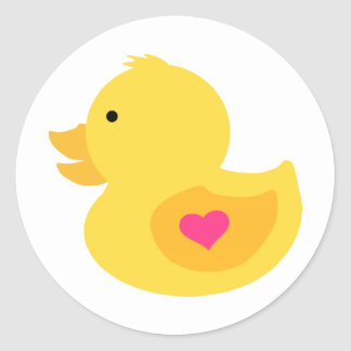 Rubber Ducky Girl Baby Shower Classic Round Sticker