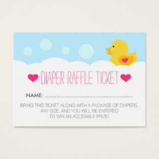 Rubber Ducky Girl Baby Shower Diaper Raffle Ticket