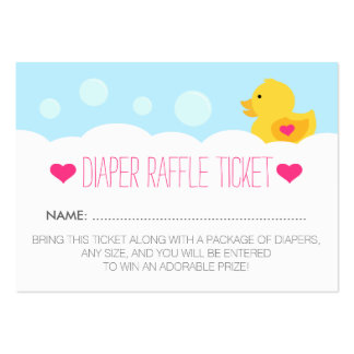 Rubber Ducky Girl Baby Shower Diaper Raffle Ticket Large Business Card