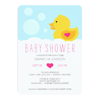 Rubber Ducky Girl Baby Shower 5x7 Paper Invitation Card