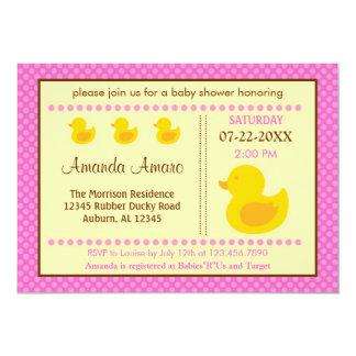 Rubber Ducky Girl Baby Shower Invitation