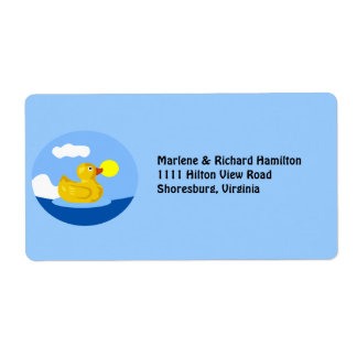 Rubber Ducky Goes for a Swim Shipping Label