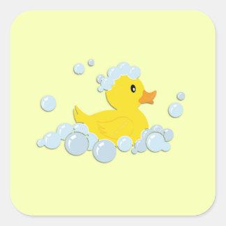 Rubber Ducky in Bubbles Square Sticker