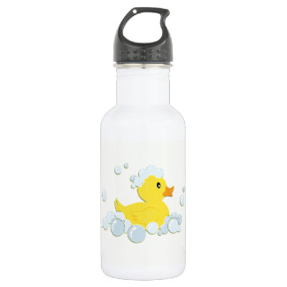 Rubber Ducky in Bubbles Water Bottle