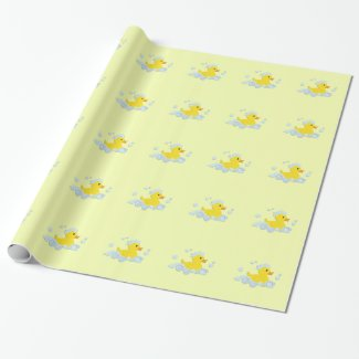 Rubber Ducky in Bubbles Wrapping Paper