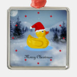 Rubber Ducky in his Santa hat Metal Ornament