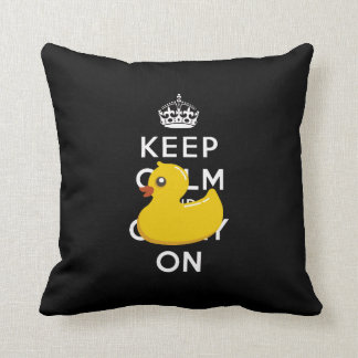 Rubber Ducky Keep Calm and Carry On Throw Pillow