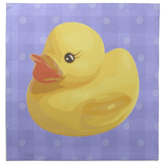 Rubber Ducky on Purple Plaid Cloth Napkin