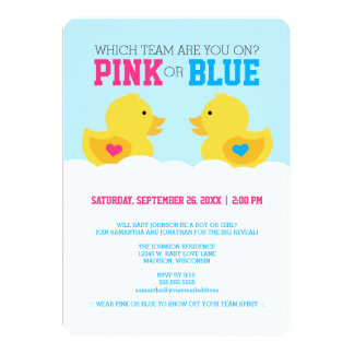 Rubber Ducky Pink or Blue Gender Reveal Party 5x7 Paper Invitation Card