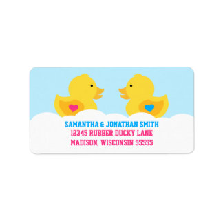 Rubber Ducky Pink or Blue Gender Reveal Party Address Label